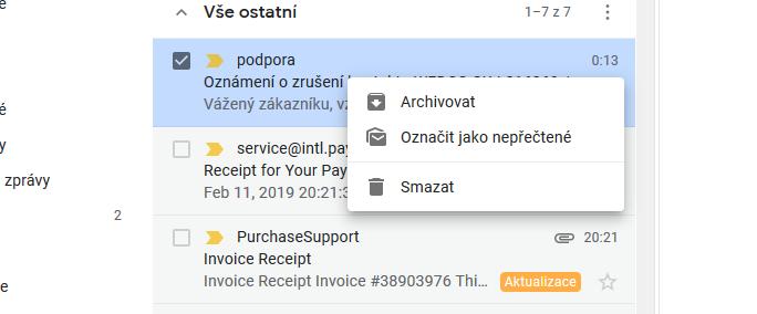 Aktuální kontextové menu v Gmailu